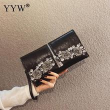 YYW Black Envelope Clutch Bag For Women Flower Rhinestone Purse And Handbag With Zipper Wedding Clutch Bag Silver Vintage Wallet недорого