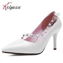 Große größe 33-42 High Heel Schuhe 2016New Frühjahr Eleganten Reizvollen perlen Schuhe Casual hochzeit High Heel Spitz rot lavendel pumpen