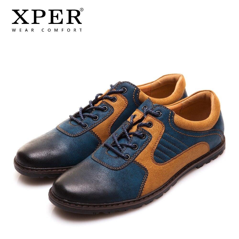 625a9e555 2018 XPER ماركة الرجال حذاء كاجوال بو تنفس الرجال الشقق أحذية مختلط الألوان  فستان رياضي أحذية للرجال حجم كبير YM86826BU في 2018 XPER ماركة الرجال حذاء  ...