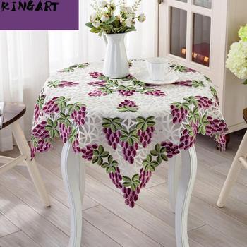 Boda bordado de tela de mesa fiesta redondo Mantel de mesa de banquete corredor cuadrado mesa de té y de lado Mantel de la cubierta de la Mesa