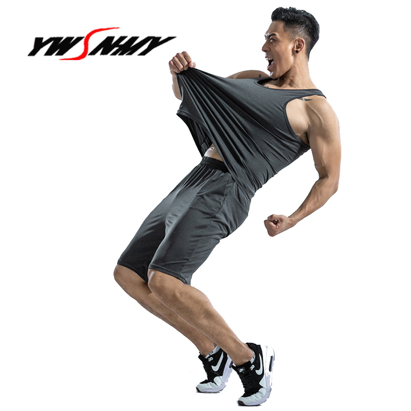 Summer Men's Sleeveless Vest Fitness Sporting Two-piece Undershirts Suit Men's Vest+shorts Casual Sets Nightwear Home Clothing