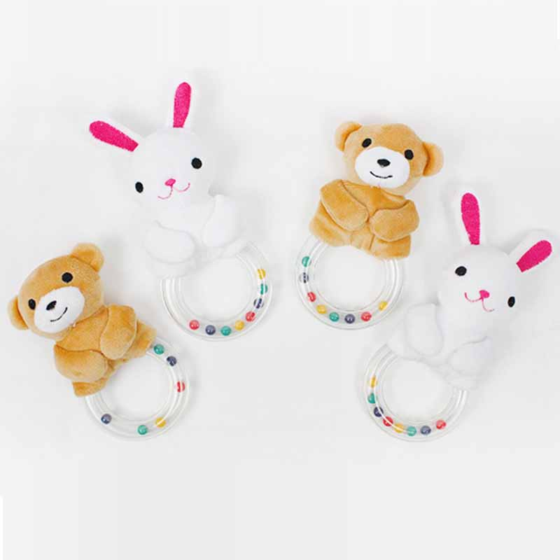 Plush Stuffed Animal Bear/Rabbit Hand Bell Bell Plush Dolls Baby Rattles Educational Squeaker Holding Toy I019