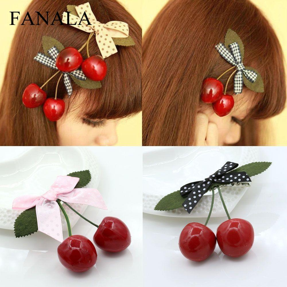 Clip Jewelry Hairpins Tiaras Fashion Bow   Headwear   Cherry Retro Accessories Barrettes Hair Women Hair