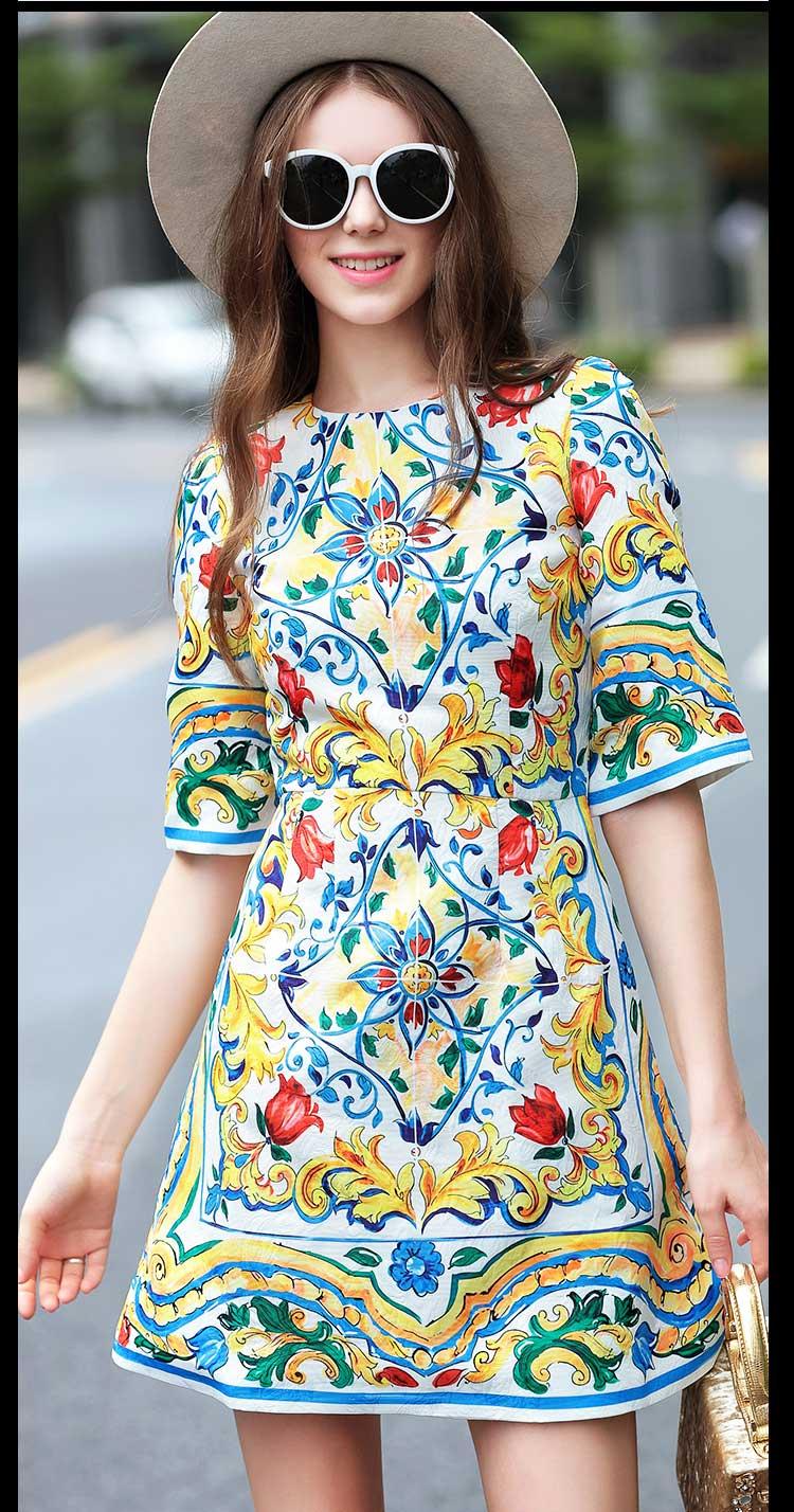 Slim Nouvelle Floral D'été Imprimé Haute Casual Robe Arrivée Piste Manches Qualité Demi Élégant Femmes De Designer Clair q6WwfEfx