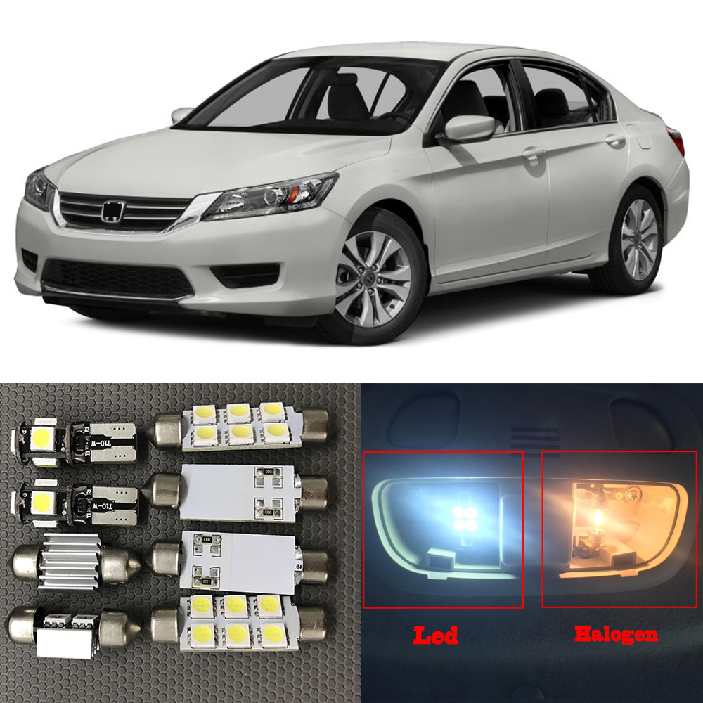 10pcs xenon white led light bulbs interior package kit for - 2015 honda accord interior illumination ...