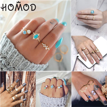 HOMOD Vintage Tiny Opal Mixed Knuckle Rings Set Bohemian Geometric Flower Retro Ring For Women Femme Party Jewelry