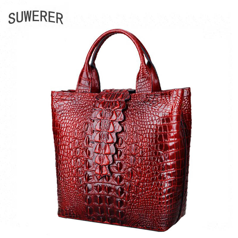 New Genuine Leather women bags Fashion Crocodile pattern Flowers luxury handbags women bags designer women leather handbags elegant crocodile pattern fashion women backpacks multipurpose solid genuine leather bags