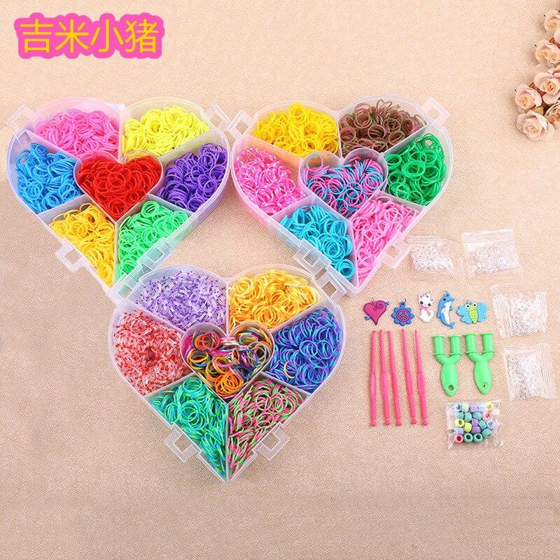 d79aa0d1ffdb 21 colores telar bandas juguetes para niños niña regalo DIY banda de goma  elástica para tejer ...