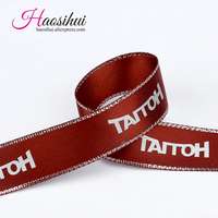 7/8''(23mm) custom wire edge ribbon with logo event and party Gifts car decoration wedding candy box 100yards/lot