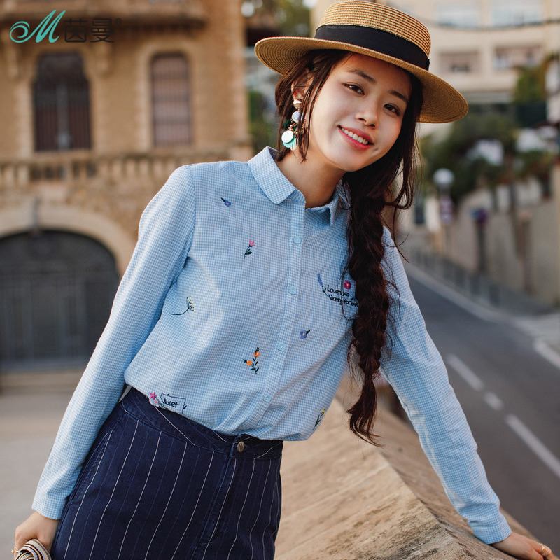 INMAN New Products Women Spring Clothes Little Freshness Embroider Long Sleeves   Blouses     Shirts   Cotton