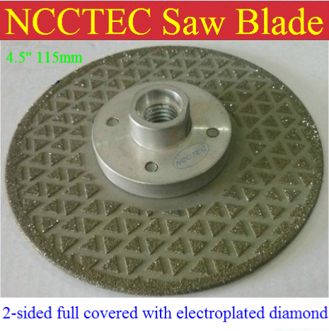 4.5 2-sided Electroplated Diamond circle saw blade FREE shipping | 115mm cut disc for cutting stone |with or without M14 flange