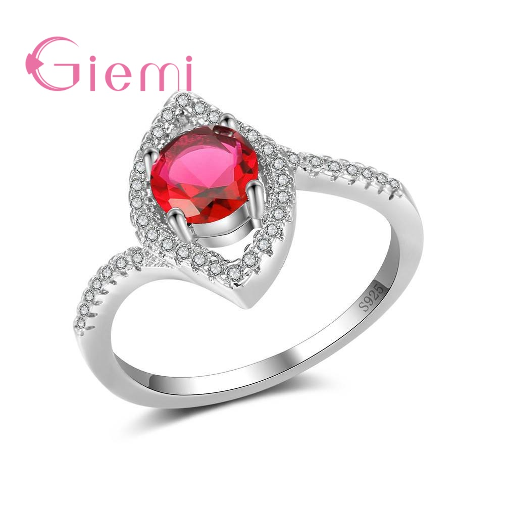 GIEMI Different Women Ladies Finger Rings Like Eyes Shape Design Hard Colorful Cubic Zircon Crtstal 925 Sterling Silver Jewelry