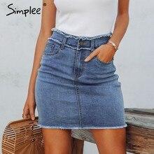 35475f5112 Simplee Sexy mujeres denim Falda borla alta cintura bodycon mini Falda Mujer  Casual streetwear vaqueros faldas de verano 2019