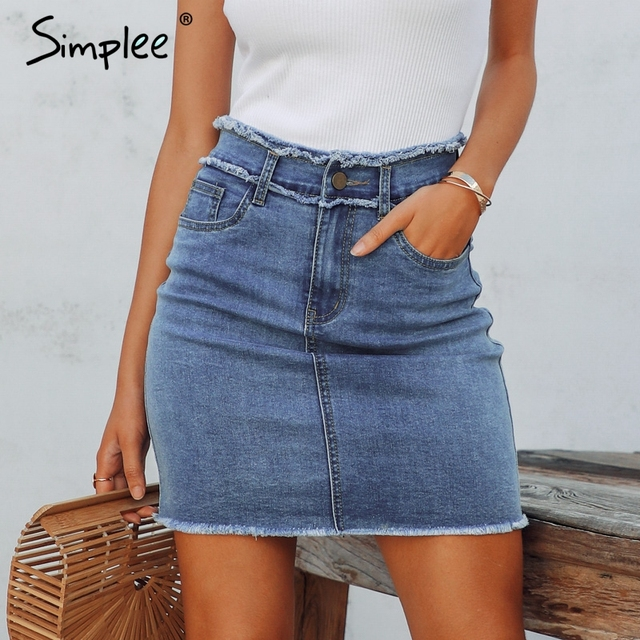 Simplee Sexy pencil denim women skirt Tassel high waist bodycon mini skirt female Casual streetwear jeans summer skirts 2019
