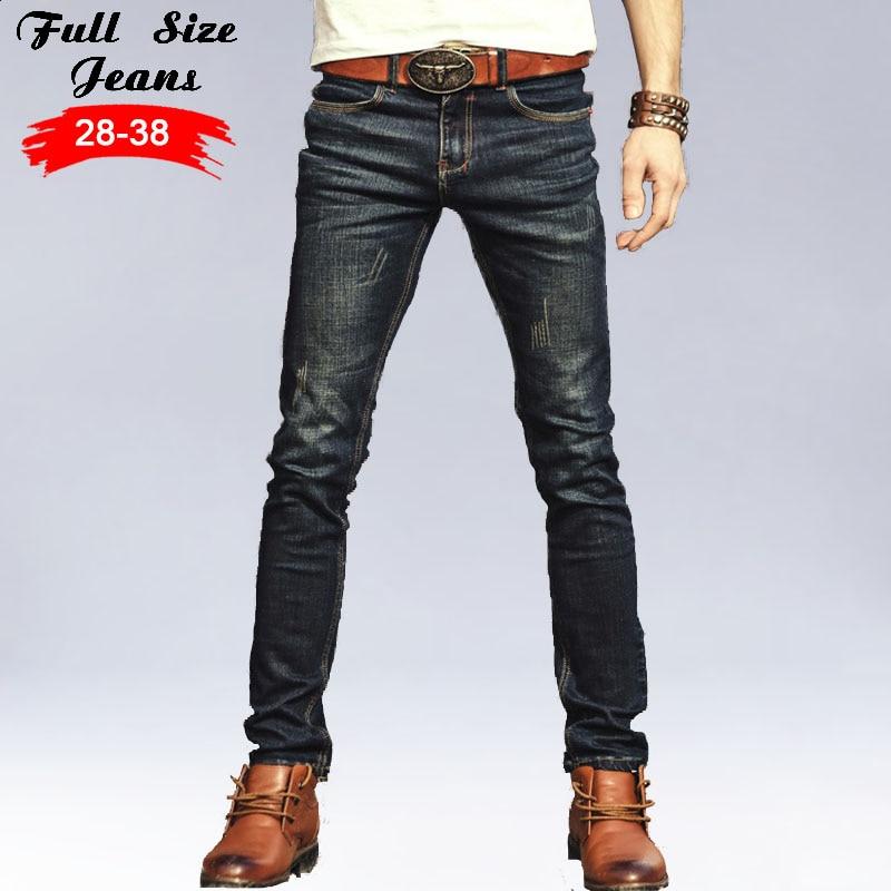 2017 New Designer Plus Size Black Denim Men's jeans Cotton Slim Fit Pencil Pants Sweatpants Men's Trousers Pants M 5XL 6XL 36 38