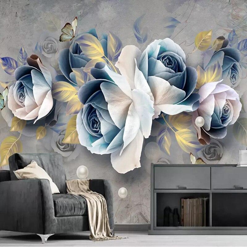 Custom Mural Wallpaper 3D Stereo Embossed Rose Flowers Murals European Retro Living Room TV Background Wall Decoration Painting