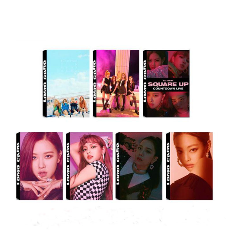 30 Pcs/pack Fashion KPOP BLACKPINK SQUARE UP Album LOMO Cards LISA ROSE Jennie Jisoo Self Made Paper HD Photocards Stationery number