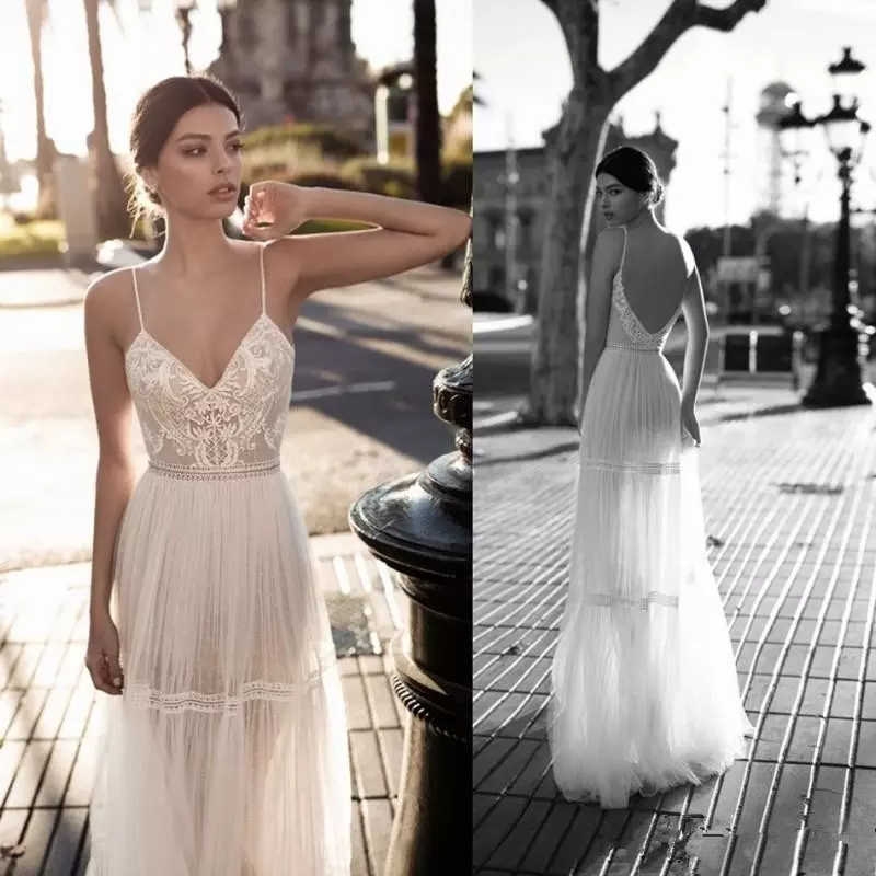 3c5c62b8f6 LORIE 2019 Wedding Dresses Bridal Gowns Lace Applique Berta Bohemian  Spaghetti Straps V-Neck Backless Floor Length