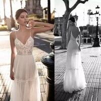 LORIE 2019 Wedding Dresses Bridal Gowns Lace Applique Berta Bohemian Spaghetti Straps V Neck Backless Floor Length