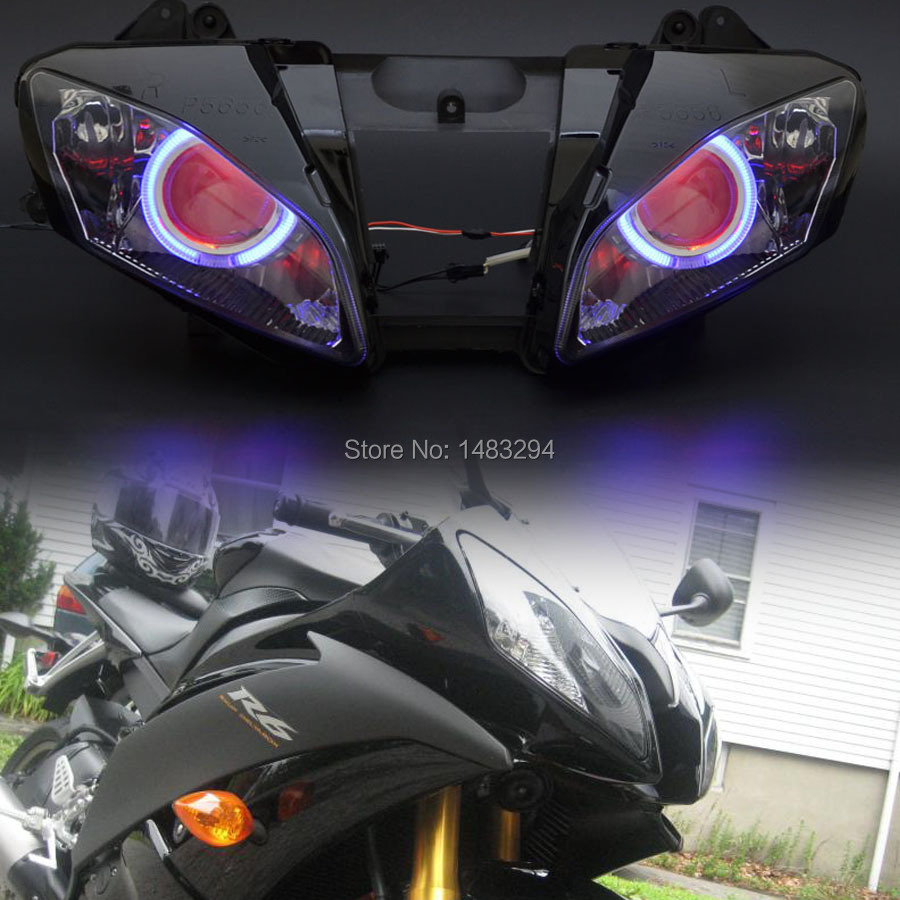 Custom Assembled Modified HID Projector Headlight Conversion W/ Blue Angel Eyes&Red Demon Eyes Fits For Yamaha YZF R6 06-07