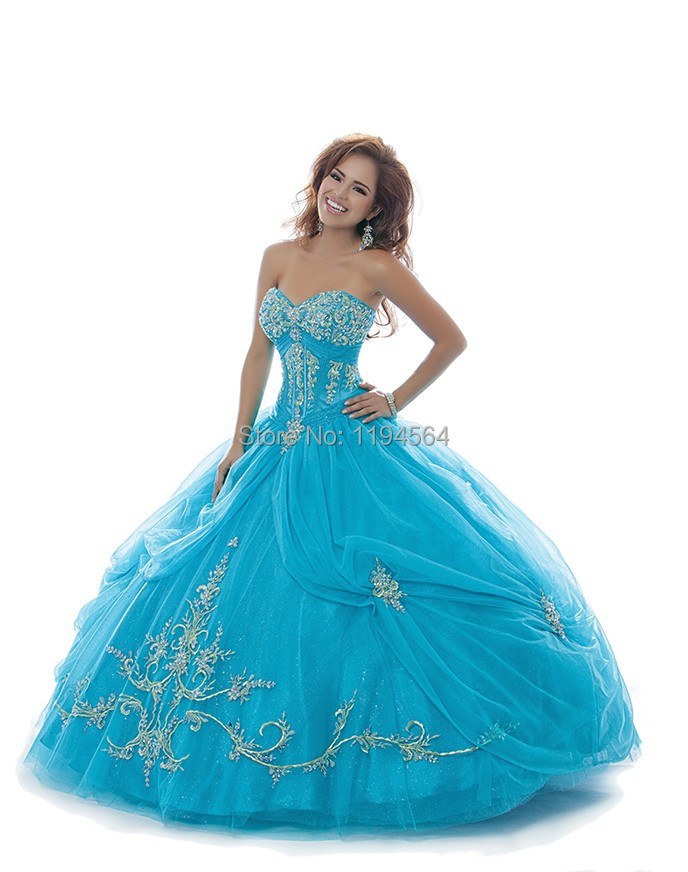Peacock 2014 Quinceanera Dress Embroidery Bule Organza Masquerade Ball Gowns Sweet 16 Dresses Free Shipping BQ354