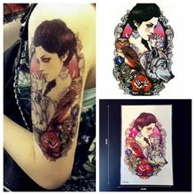1PC Large Temporary Tattoo Punk Women VS Roses VS Dog VS Owl Old School Tattoo Rock Roll Waterproof Fake Tattoo Sticker Body Arm