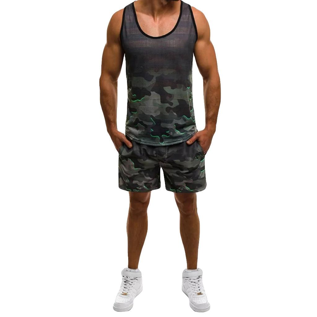 Herren-set Camouflage Dünne Ärmellose Tank Top T-shirt Sommer Shorts Hosen Anzug Top Bluse Sport Tragen Männer Kleidung 19apr4 Up-To-Date-Styling Herrenbekleidung & Zubehör