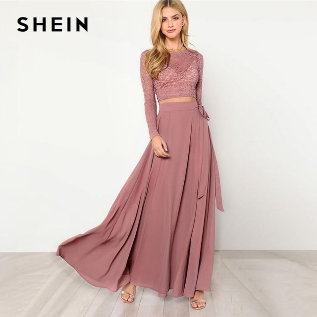 Шеин розовый укороченный кружевной топ и юбка комплект Для женщин с круглым вырезом и длинными рукавами ремень элегантные комплекты из двух предметов 2018 Весна плотная Twopiece