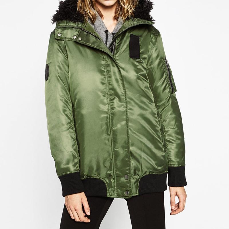 ФОТО New Brand 2016 Fashion Army Green Hooded Warm Bomber Winter Jacket Women Long Sleeve Zipper Basic Coats manteau femme