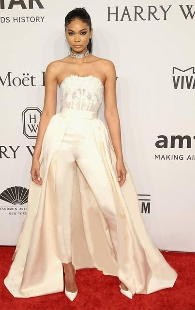Sexy Modest Ivory Pants Formal Celebrity Dress Evening Dresses