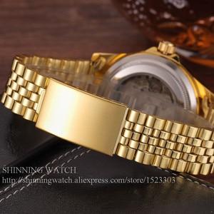 Image 4 - 럭셔리 골드 패션 남성 시계 캐주얼 크리스탈 다이얼 날짜 자동 기계 스테인레스 스틸 스포츠 손목 시계 남성 선물 용품