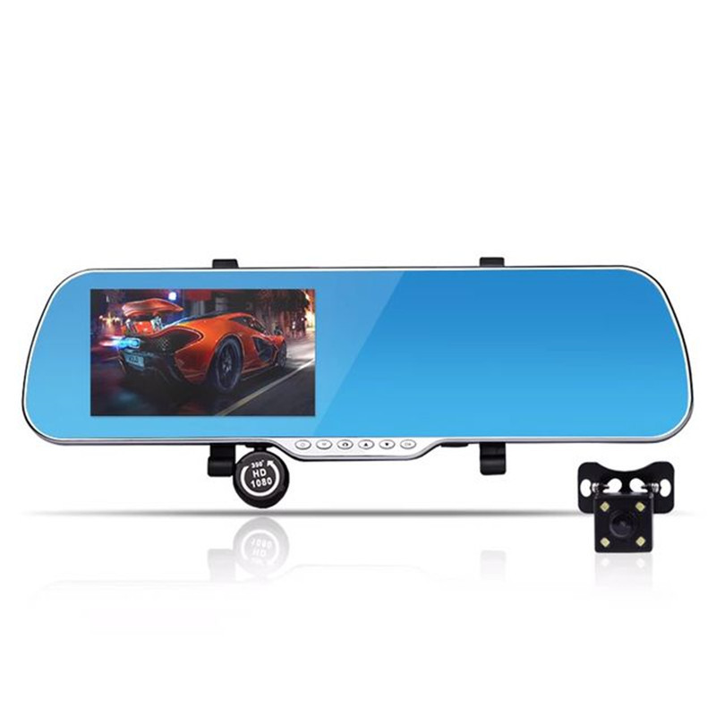 ФОТО High Quality High Definition Dual Lens Rearview Mirror Driving Recorder Night Vision Plus Electronic Dog 1080p Driving Recorder