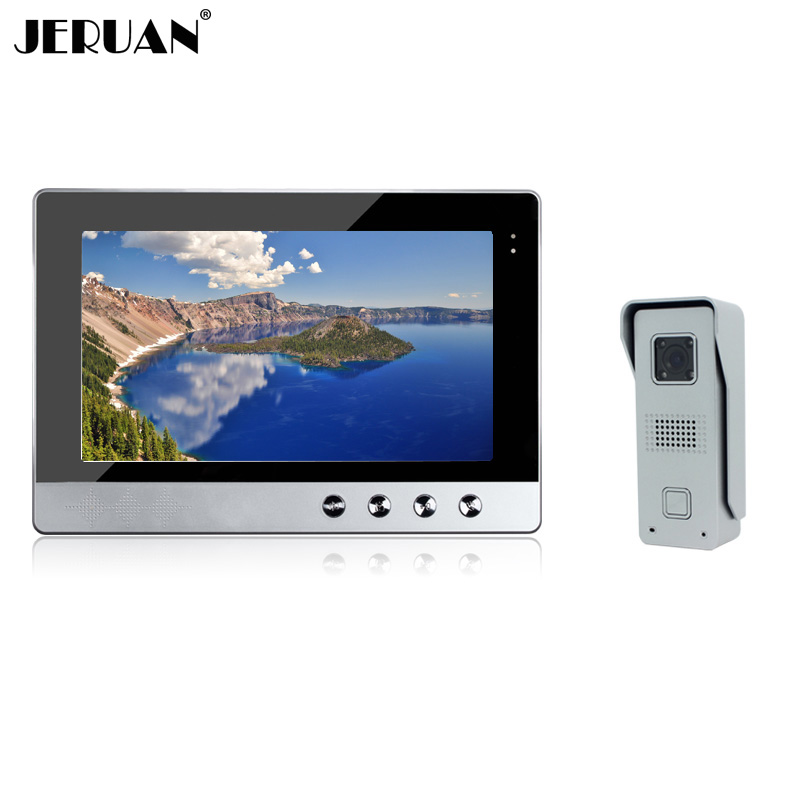 JERUAN Brand New Wired 10`` color Screen Video Intercom Door Phone System + 1 Monitor + Metal Night Vision Outdoor Camera diysecur 7inch hd screen video door phone intercom outdoor unit camera night vision system 1 camera 1 monitor v70t f