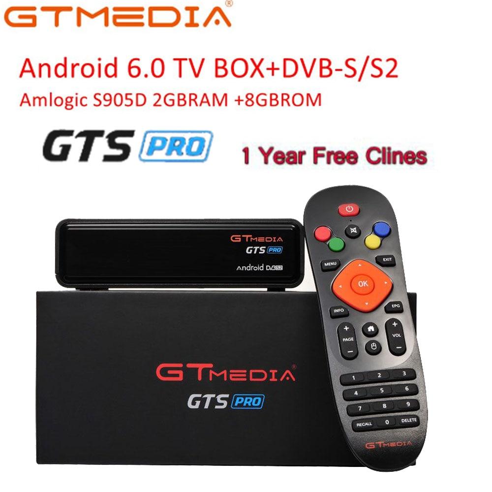 Ue cccam Freesat GTmedia GTS PRO Android 6.0 IPTV Smart TV BOX Amlogic S905D Combo DVB-S2 récepteur Satellite 2G/8 GB décodeur