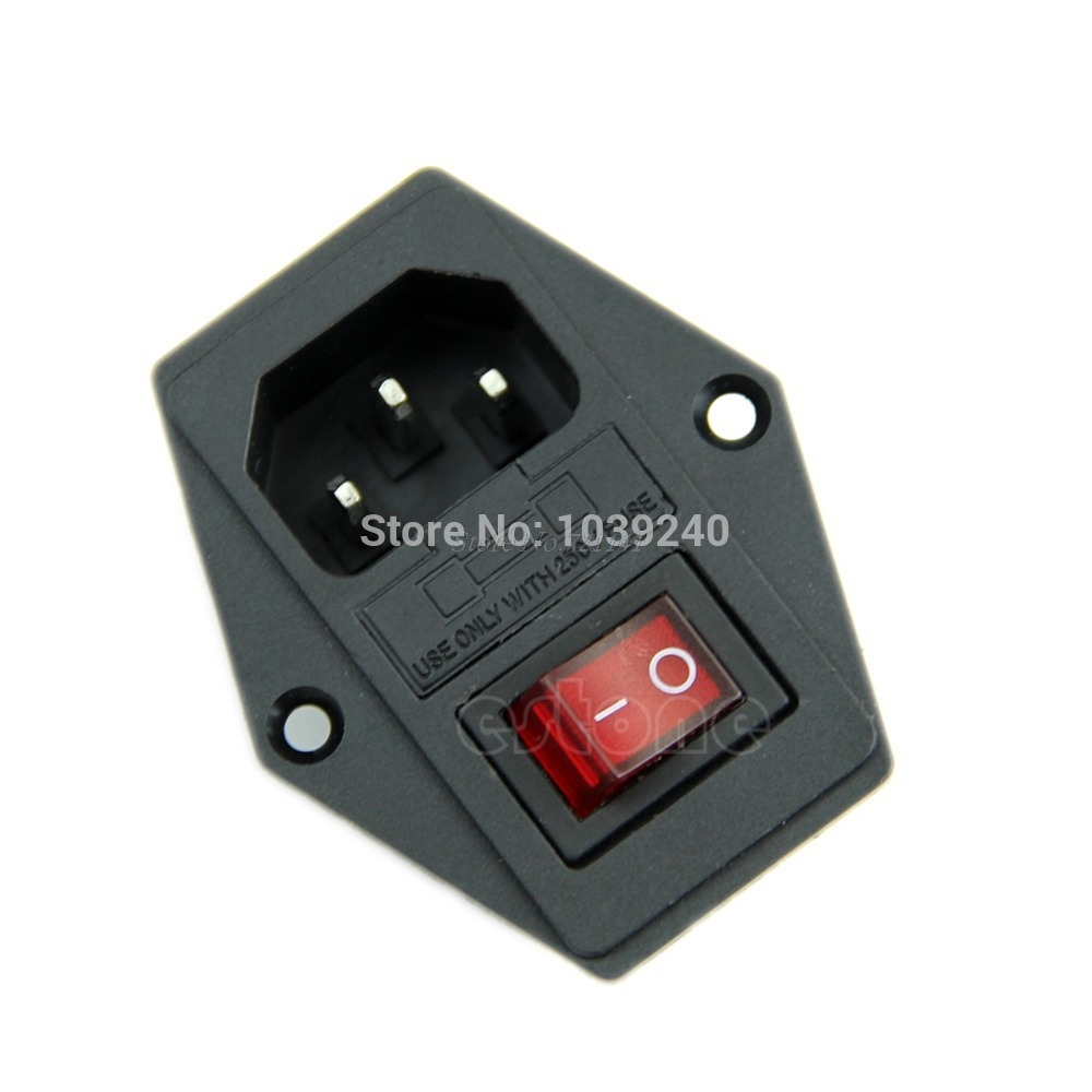 1Pc New Black Red AC 250V 10A 3 Terminal Power Socket With Fuse Holder Dropship