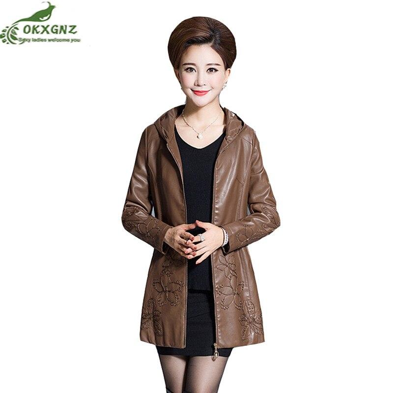 Autumn winter new ladies   leather   Outerwear medium large size long jacket coat female loose embroidered   leather   windbreakerOKXGNZ