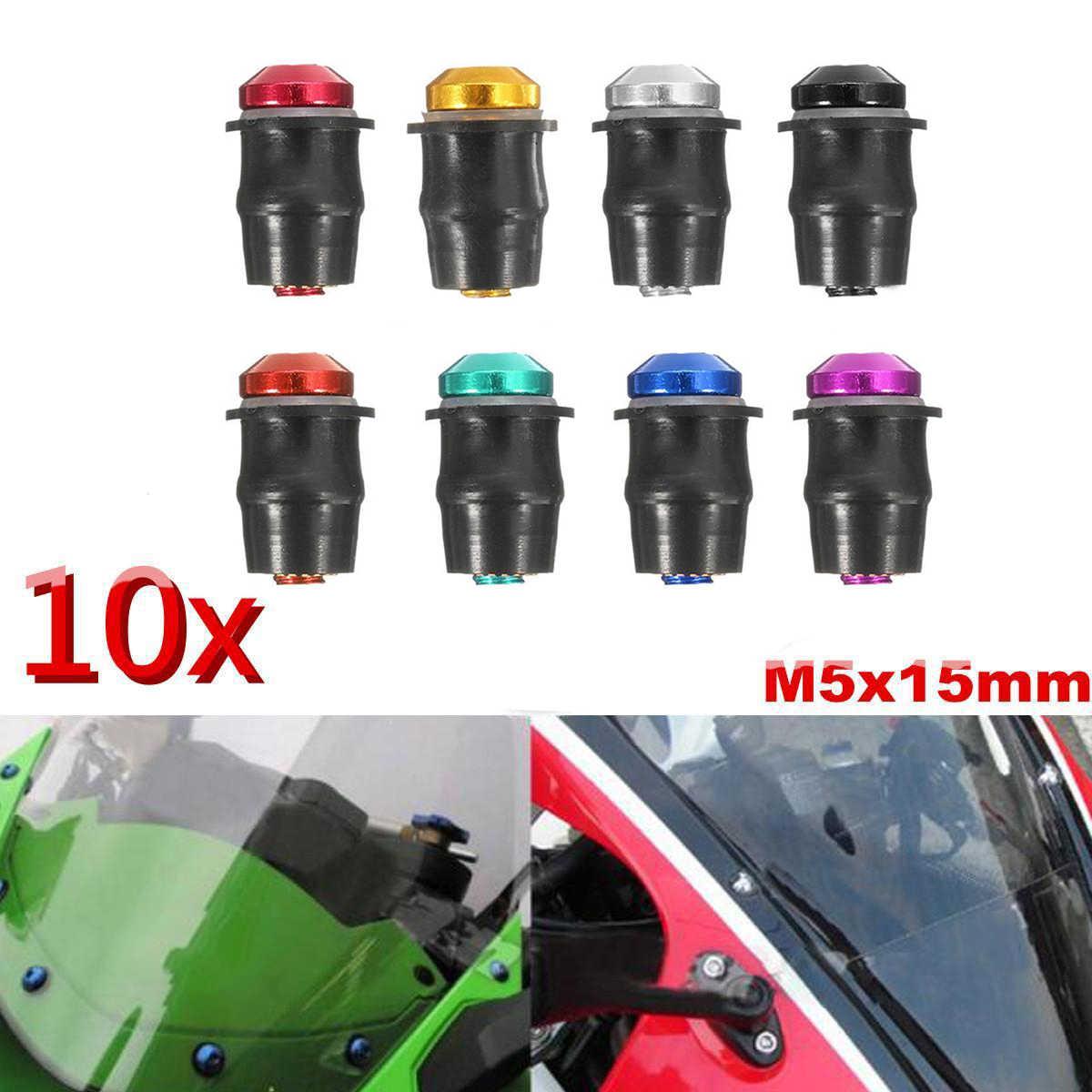 10Pcs Set M5x15mm Aluminium Motor Hadiah Sekrup Baut Kit Tubuh Mount untuk Sepeda Motor Kaca Depan Kaca Depan Sekrup Baut Mur