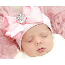 DreamShining/Милая хлопковая детская шапка с бантом для новорожденных; реквизит для фотосессии; вязаные шапки в полоску для маленьких девочек; шапочки для малышей