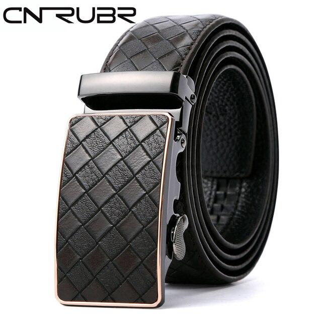 CNRUBR Cowskin Weave Mens Luxury Belts Vintage Genuine Leather Belts Plaid Automatic Buckle Pants Waistband Male Straps