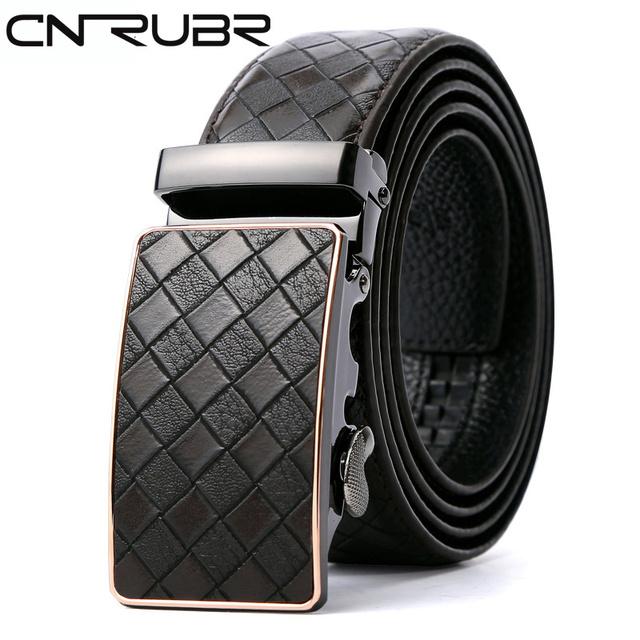 CNRUBR Tecer Cowskin Dos Homens Cintos Luxo Cintos de Couro Genuíno Do Vintage Xadrez Calças de Cintura Fivela Automática Masculino Straps