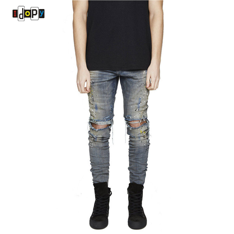 Urban Cool Mens Personality Print Jeans Slim Fit Skinny Destroyed Distressed Knee Ripped Jeans With Holes For Men