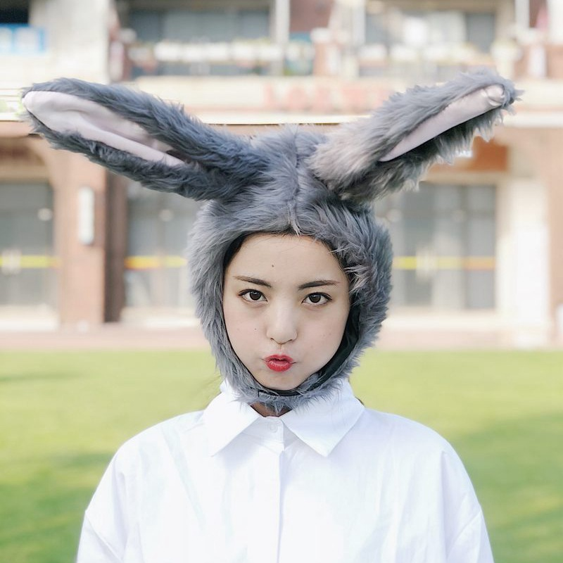 Cartoon Soft Grey Long Ears Bunny Headgear Hat Plush Toy Children Kis Adult Lady Student Cosplay Hat Toy Sleeve Cap