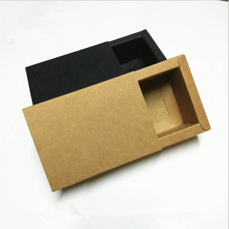 25pcs/lot-10.6*8.6*4cm Black Kraft Paper Drawer Box Handmade Soap Gift Craft Jewel Packaging Party Gift Boxes