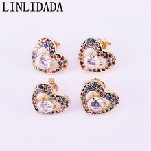 8Pair 15*12mm, Fashion jewelry colorful cz zircon paved heart shaped gold color stud Earrings Women Jewelry