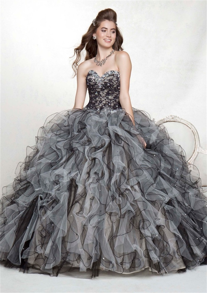 Black And White Detachable Skirt Quinceanera Dresses For 15 Years Masquerade Dress Beading Ball Gown Lace Organza 2015 ZBQ4 In From