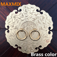 12cm 35mm Chinese Style Hand Door Pure Copper Wardrobe Round Handle Retro Carved Designs Cabinet Knobs