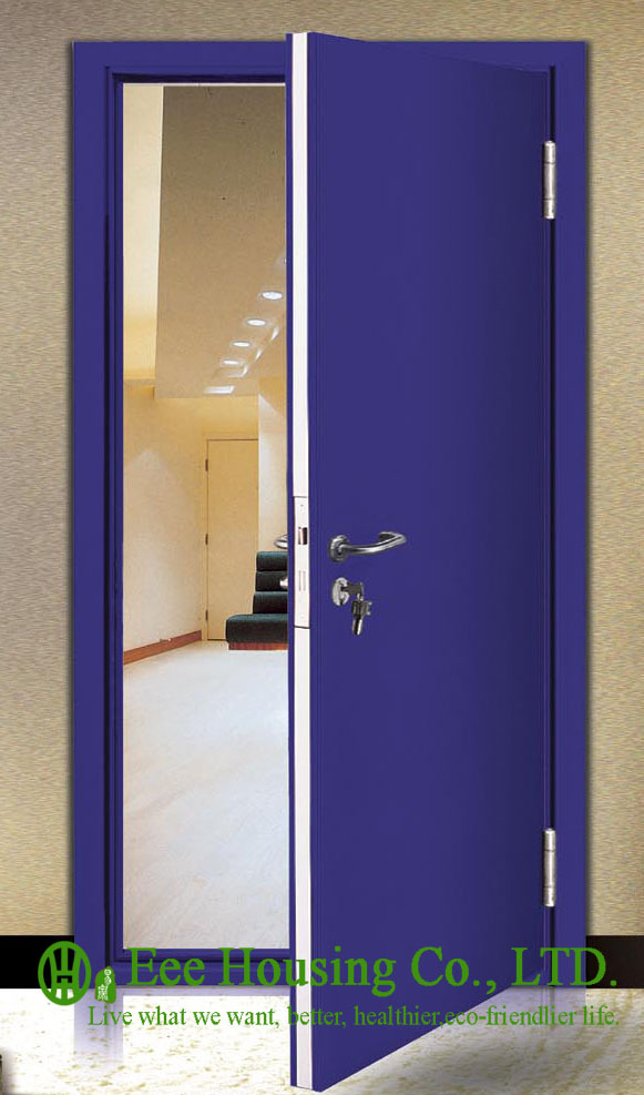 60 Minutes Fire Rated Door Steel Fire Door With Panic Push Bar And Door Lock, Steel Fire-proof Doors For Commercial Projects