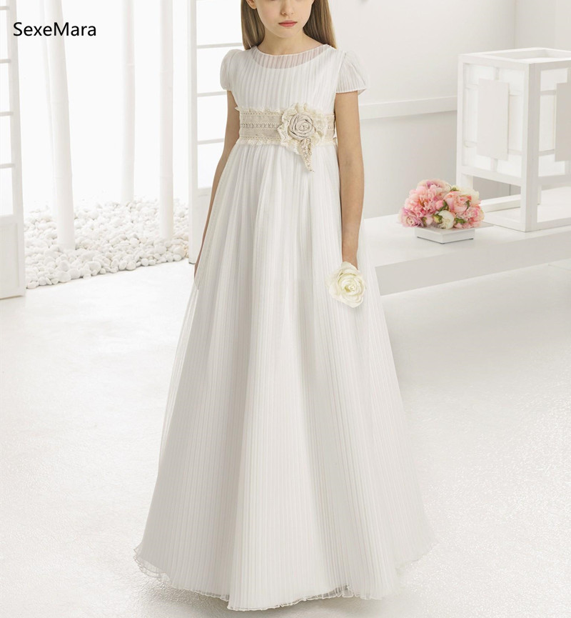 Vintage   Flower     Girl     Dresses   for Wedding Empire Waist Crew Neck Champagne Lace Sash Kids First Communion   Dress   White Ivory