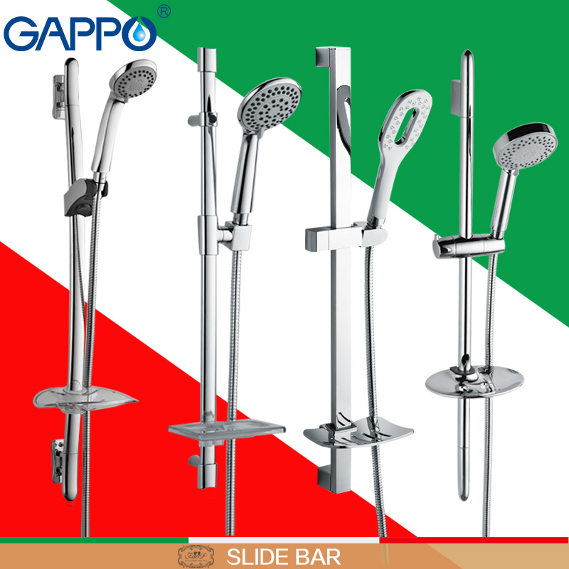 GAPPO Slide bar bathroom shower Slide bars shower pipe hose soap dish handheld Shower Wall Mount rain shower set