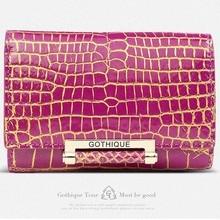 2016 New gete Siamese real crocodile skin belly women clutches short  wallet 24 k gold lock button women bag